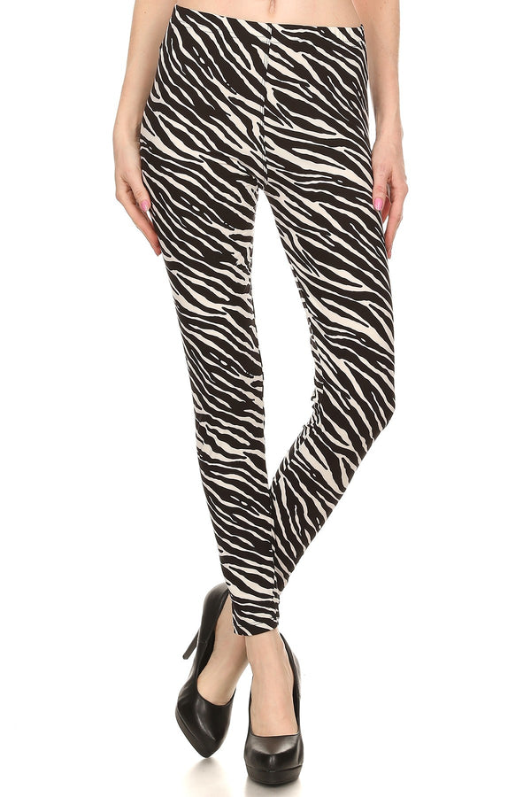 Women's Plus Zebra Animal Skin Full Length Pattern Printed Leggings