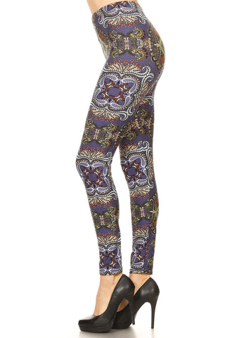 Women's Plus Abstract Fish Undersea Pattern Printed Leggings