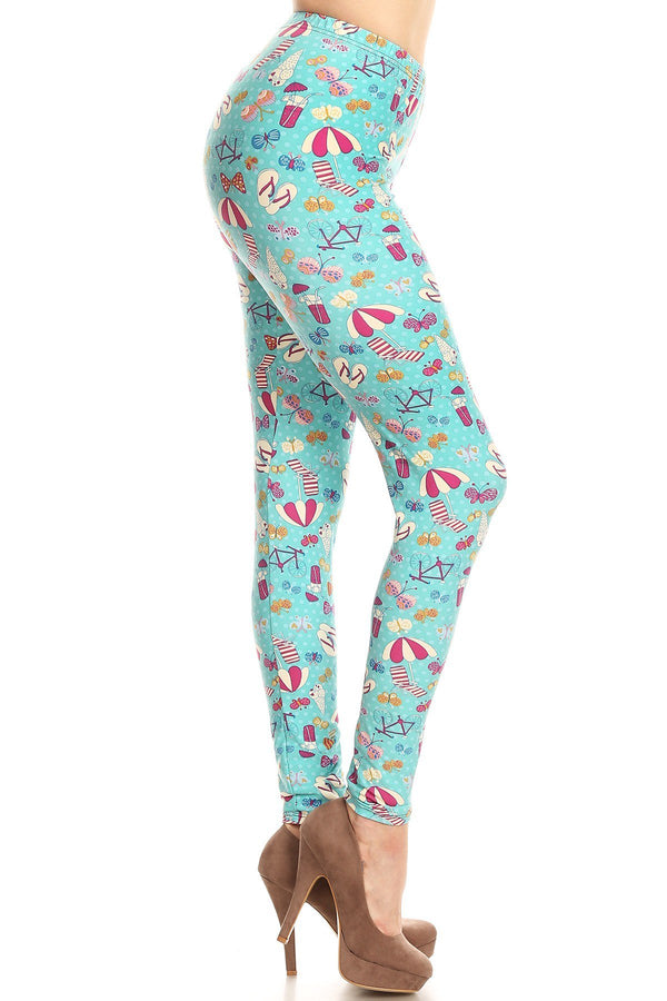 Women's Plus Summer Theme Vacation Pattern Printed Leggings