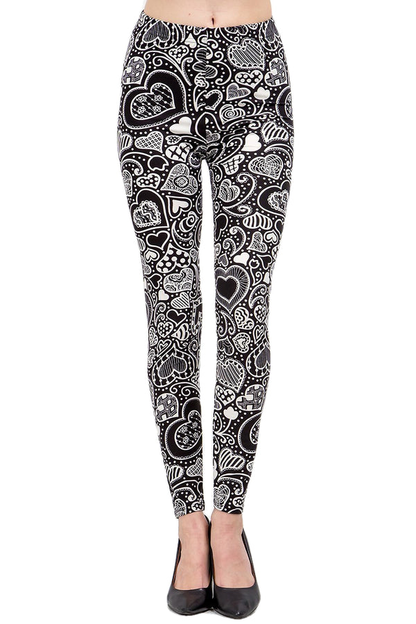 Women's XPlus Valentine Abstract Heart Pattern Printed Leggings