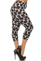 Women's PLUS Little Elephant Cropped Capri Leggings