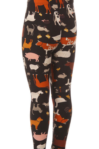 Kid's Colorful Animal Cow Lamb Pattern Printed Leggings
