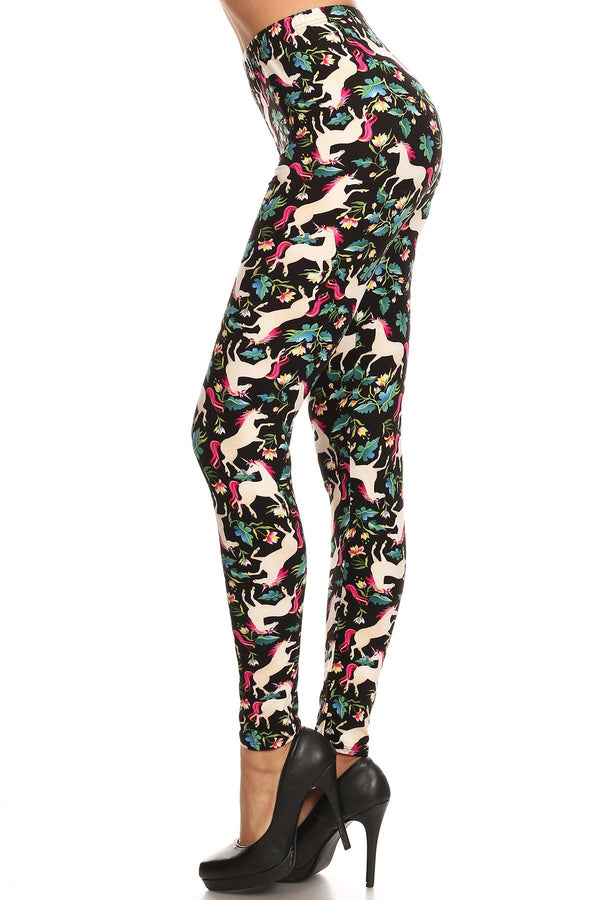Women's Regular Unicorn Horse Flower Pattern Printed Leggings
