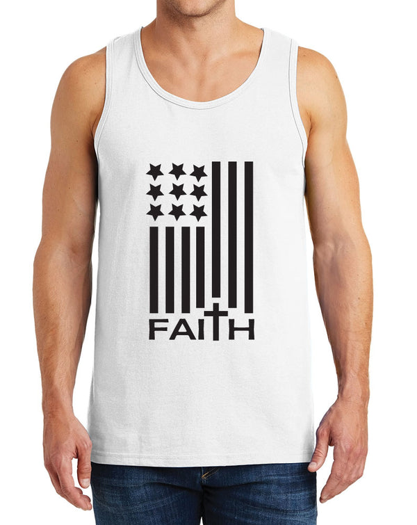Men's American Flag with Faith Design Heavy Cotton Tank Tops – XS ~ 3XL