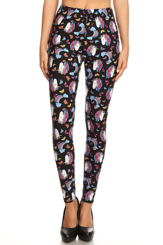 Women's Plus Unicorn Dream Pattern Printed Leggings