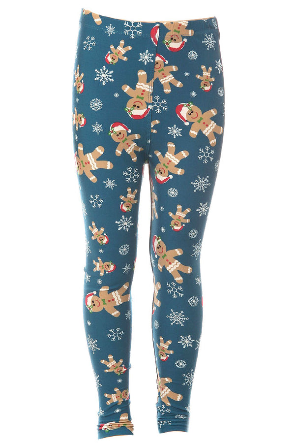 Kid's Gingerbread Man Pattern Printed Leggings