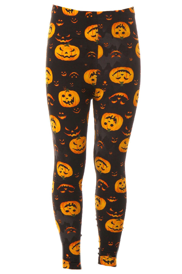 Kid's Colorful Jack O' Lantern Pumpkin Pattern Printed Leggings