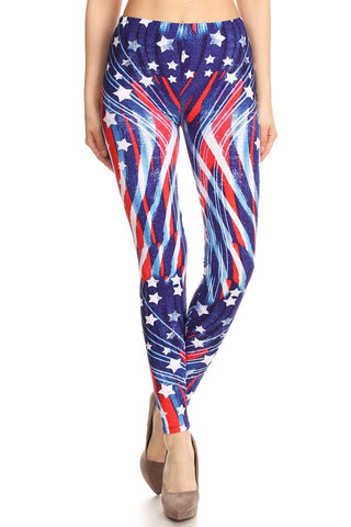 Women's Regular 4th of July Flying Star Pattern Printed Leggings