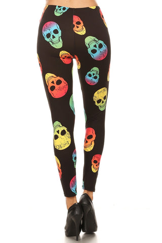 Women's Regular Colorful Skull Pattern Printed Leggings - Red Yellow