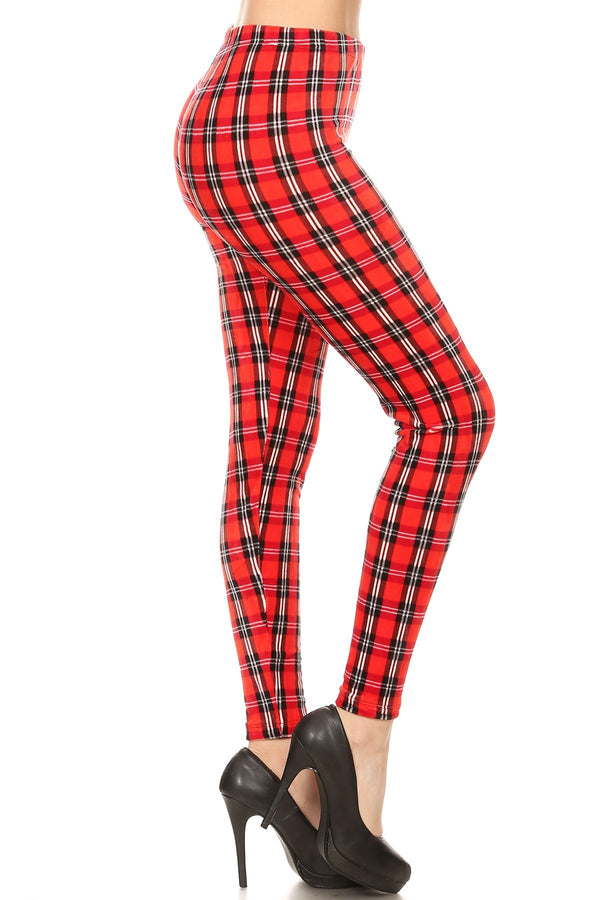 Women's Plus Red Plaid with Grey Line Pattern Velvet High Waisted Leggings