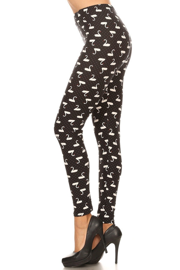 Women's Plus B&W Swans Birds Pattern Print Leggings