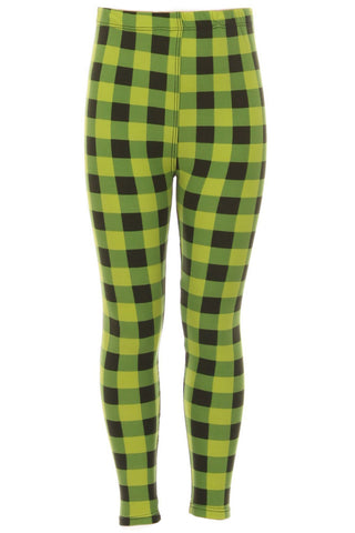 Kid's colorful Lime Plaid Pattern Printed Leggings