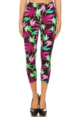Women's Regular Pot Leaves Plant Printed Cropped Capri Leggings