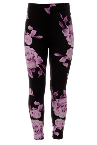 Girls Purple Big Roses Pattern Print Leggings