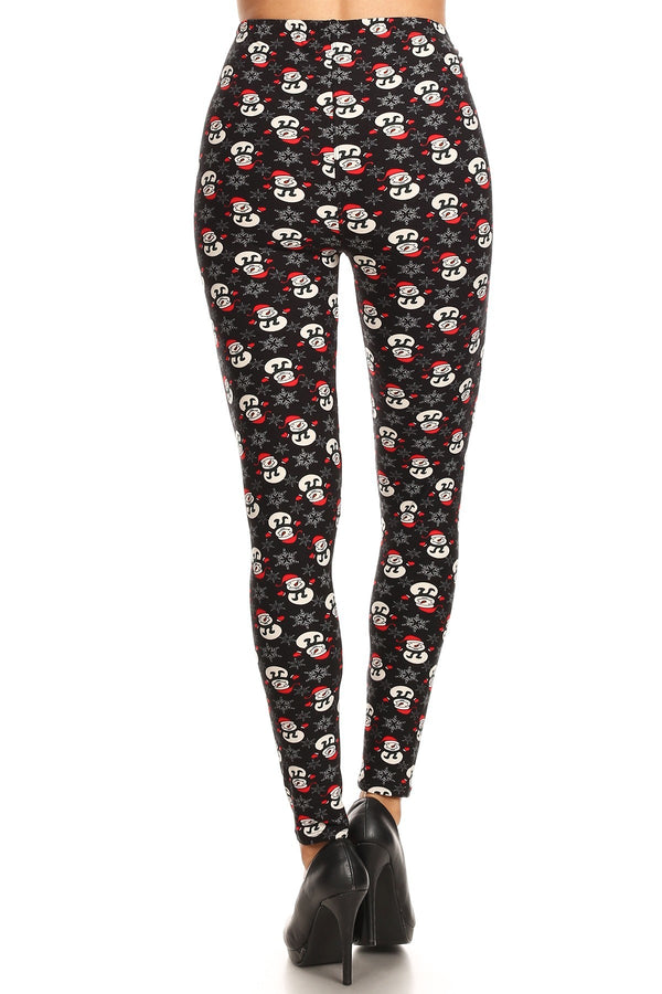 Women's Plus Snowman with Red Hat Glove Pattern Printed Leggings