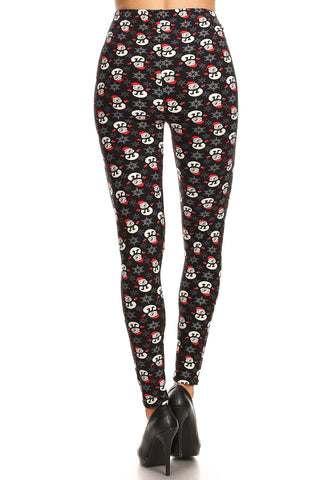 Women's Regular Snowman with Red Hat Glove Pattern Printed Leggings