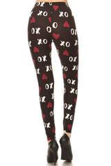 Women's Plus Red XO hearts Pattern Printed Leggings