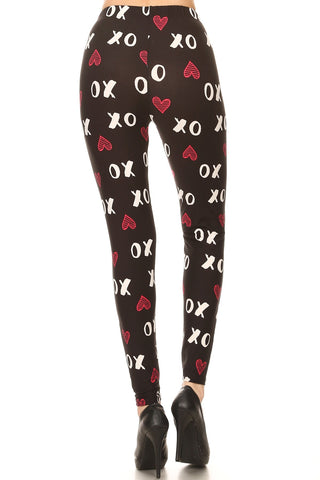 Women's 3X5X Red XO Hearts Pattern Printed Leggings