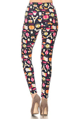 Women's Regular Travel Ticket Theme Pattern Printed Leggings