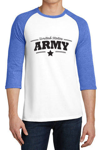 United States Army with Star- 3/4-Sleeve Raglan Fitted Baseball Tees for Young Men - XS ~ 4XL