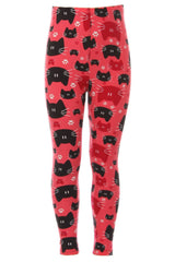 Kid's Black Red Cat Faces Pattern Printed Legging