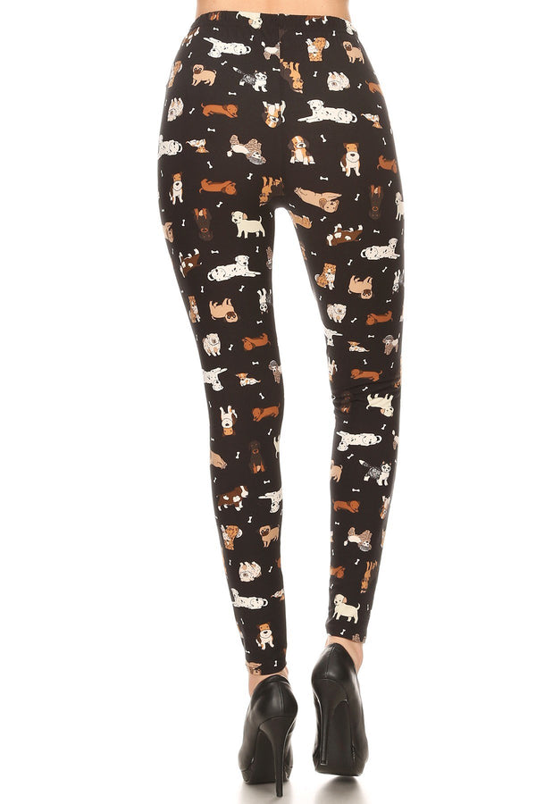 Women's Plus Cute Puppy Dog Pattern Printed Leggings