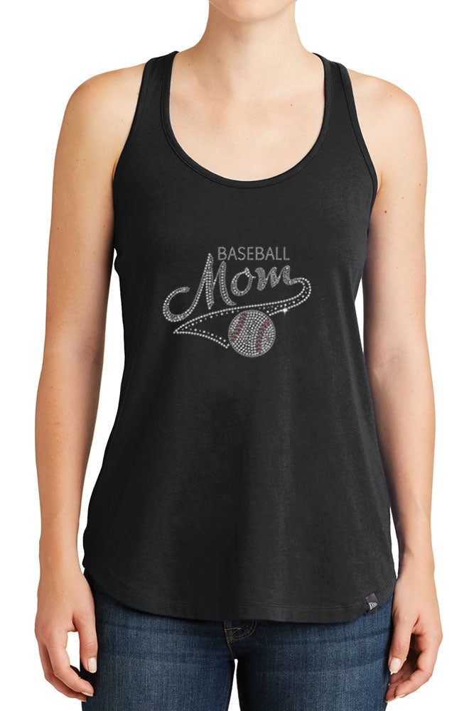 Women's Baseball Mom Rhinestones Design Graphic New Era Heritage Blend Racerback Tank Tops for Regular and Plus - XS ~ 4XL