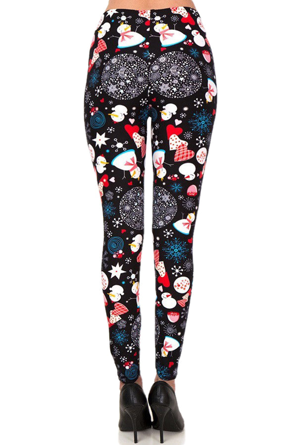 Women's Plus Christmas Snowman Flake Pattern Printed Leggings