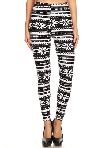 Women's Plus B&W Big Petal Fair Isle Pattern Printed Leggings