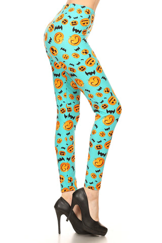 Women's PLUS Pumpkins & Bats Pattern Printed Leggings - Halloween Costume
