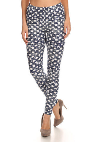 Women's Regular White Little Stars Faded Pattern Printed Leggings