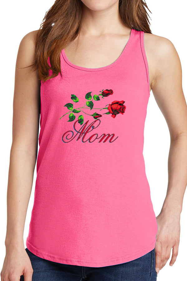 Women's Mom with Roses Core Cotton Tank Tops -XS~4XL