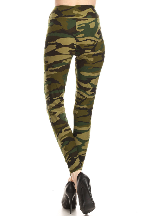 Women Plus High Waist Camouflage Military Printed Yoga Work Out Pants Legging