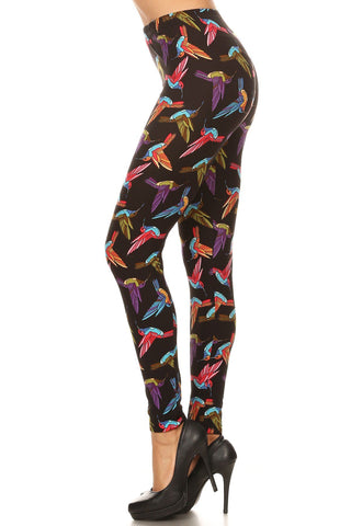 Women's Plus Hummingbird Pattern Printed Leggings