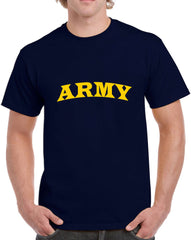 Men's Army with Yellow Text Heavy Cotton Classic Fit Round Neck Short Sleeve T-Shirts – S~3XL