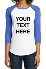 Create Your Own Text – Womens 3/4-Sleeve Raglan Fitted Baseball Tees -XS~4XL
