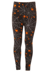 Kid's Halloween Spider Spiderweb Pattern Printed Leggings
