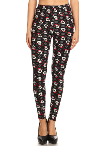 Women's 3X 5X Snowman with Red Hat Glove Pattern Printed Leggings
