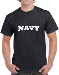 Men's Navy with Arch Design Heavy Cotton Classic Fit Round Neck Short Sleeve T-Shirts – S ~ 3XL