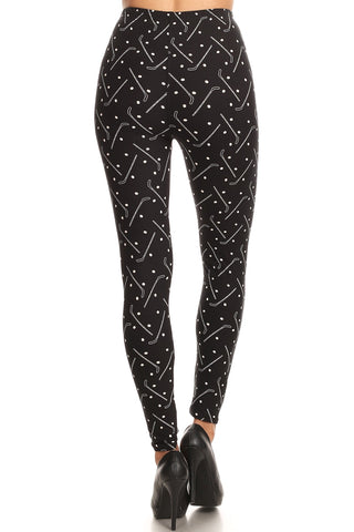 Women's 3X 5X Hockey Winter Sports Pattern Printed Leggings