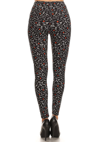Women's 3X 5X School Supplies Pattern Printed Leggings