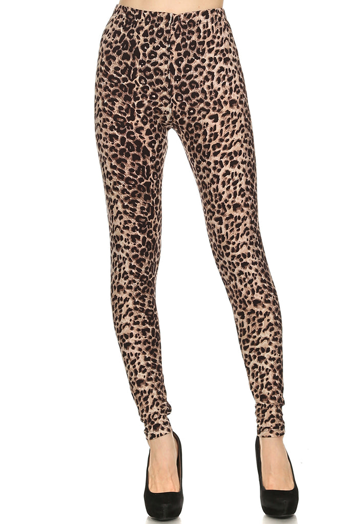 Women's Regular Brown Cheetah Animal Pattern Printed Leggings