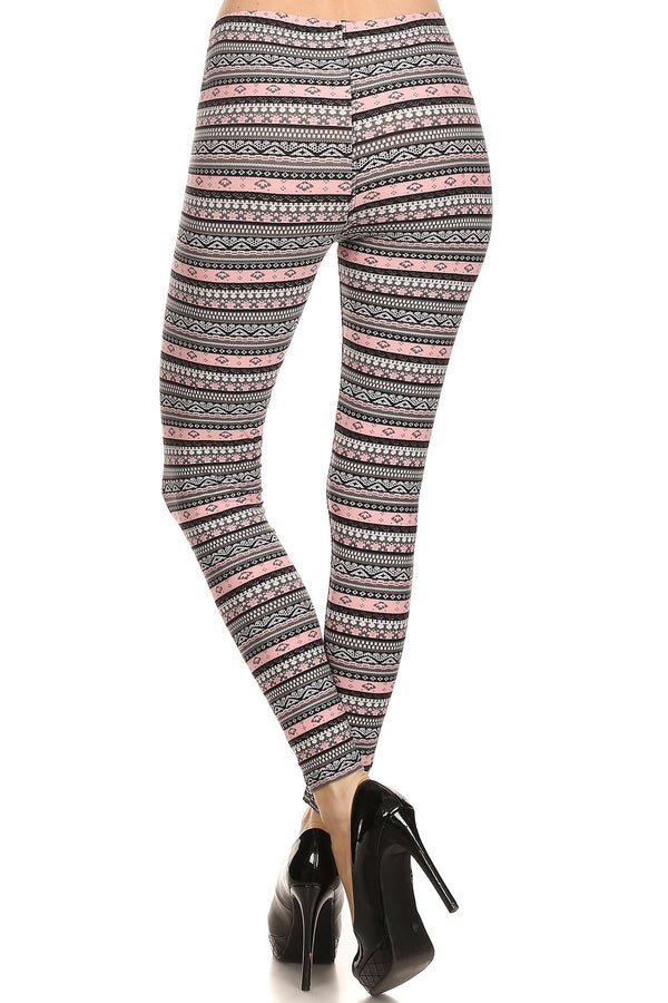 Women's Plus Grey Pink Small Aztec Shape Pattern Printed Leggings