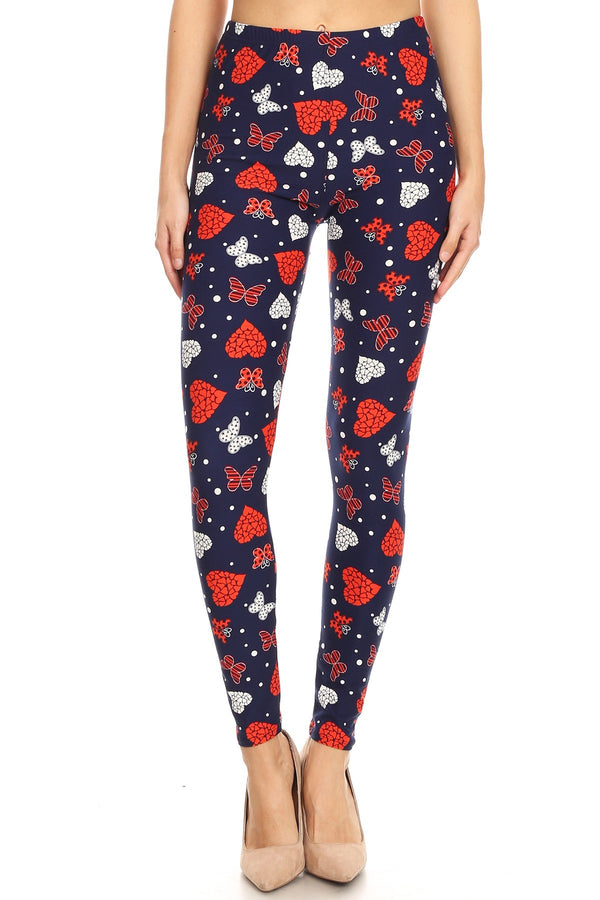 Women's 3X 5X Heart Butterfly Pattern Printed Leggings