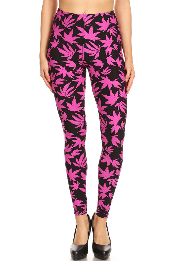 Women's Plus Allover Fuchsia Cannabis Leaf Plant Pattern Printed Leggings