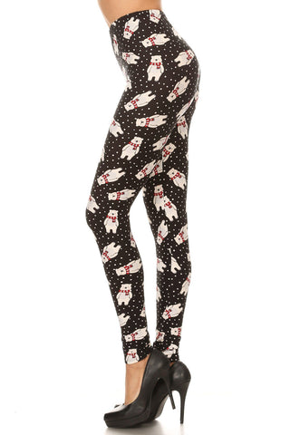 Women's Plus Polar Bear Snow Pattern Printed Leggings