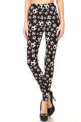 Women's Regular B&W Soccer Ball Sports Pattern Printed Leggings