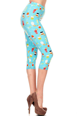 Women's Plus Colorful Cocktail Beverage Printed Cropped Capri Leggings