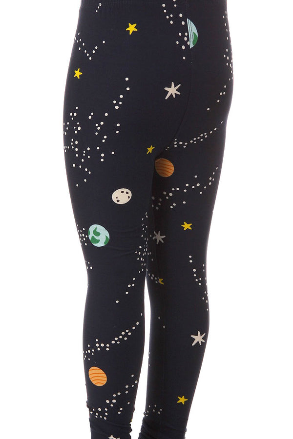 Kid's Colorful Planet Space Pattern Printed Leggings