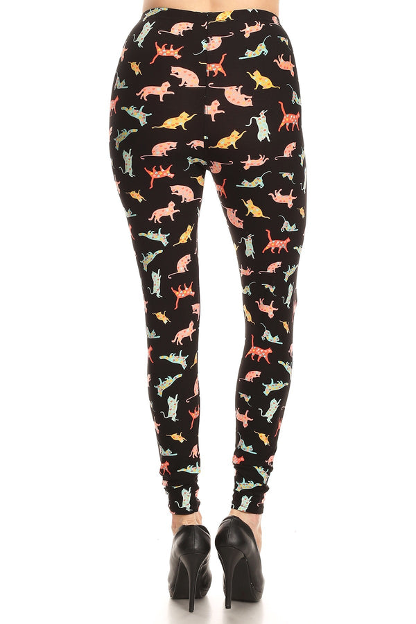 Women's Regular Playful Cats Pattern Printed Leggings